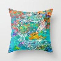 yin yang Throw Pillows featuring YIN & YANG by AlyZen Moonshadow