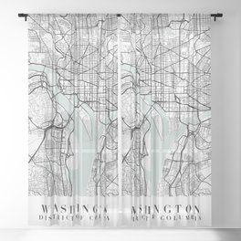 Washington DC Blue Water Street Map Sheer Curtain