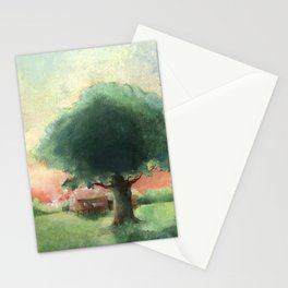 Rural landscape with old oak and farmhouse- Acrylic painting Stationery Cards