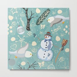 Seamless Winter Pattern with Snowman and Owls Metal Print