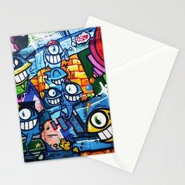Graffiti Urban colorful graffiti city wall comical cartoon fish with big eyes doing graffitis Stationery Cards