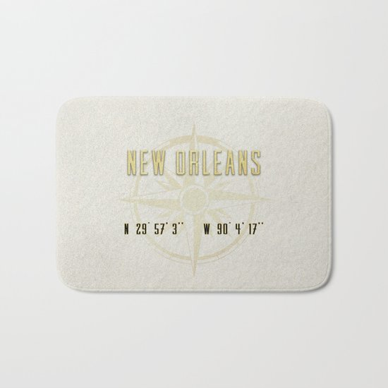 New Orleans - Vintage Map and Location Bath Mat
