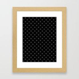 Gray on Black Snowflakes Framed Art Print