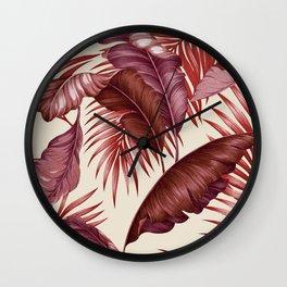 HAWAIIAN GARDEN TROPICAL LEAVES| burgundy ivory Wall Clock