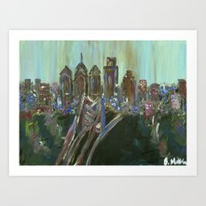 Earth-tone Philly Skyline Art Print