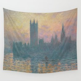 The Houses of Parliament  Sunset by Claude Monet Wall Tapestry