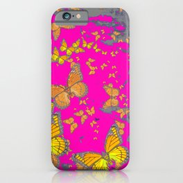 FUCHSIA PINK & GREY BUTTERFLY ABSTRACT ART iPhone Case