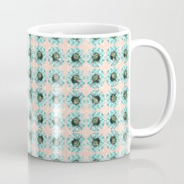 Mint Blue Green Chevron Daisy on Peach Bubbles Floral Flowers Illustration Coffee Mug