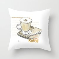cafe Throw Pillows featuring Cafe by Indraart
