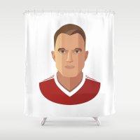 phil jones Shower Curtains featuring Phil Jones MUFC Flat Illustration by uniteeds