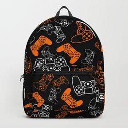 Video Games Orange on Black Backpack