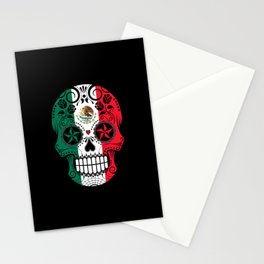 Sugar Skull with Roses and Flag of Mexico Stationery Cards