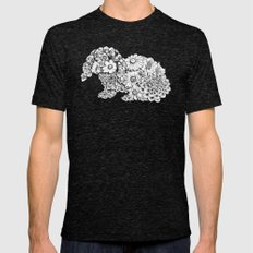 Floral Rabbit LARGE Mens Fitted Tee Tri-Black