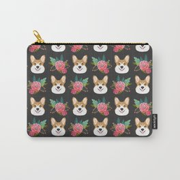 Corgi face floral bouquet cute dog breed gifts for welsh corgi lovers must haves Carry-All Pouch