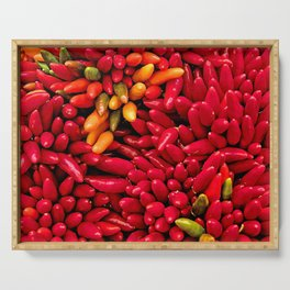 Yellow and Red Chili Peppers Serving Tray