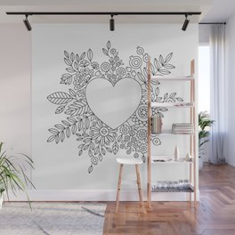 Flourishing Heart Adult Coloring Illustration, Heart and Flowers Wreath Wall Mural
