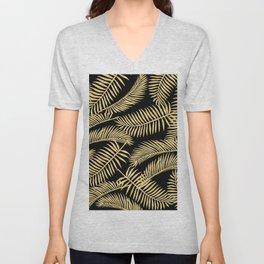 Palm Leaf Pattern Gold And Black Unisex V-Neck