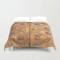 shiva Duvet Covers featuring Indian Shiva Temple Doors by Oberleigh Images