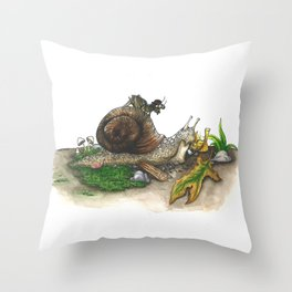 Little Worlds: Snail and Cricket Throw Pillow