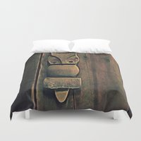 wooden Duvet Covers featuring Wooden Owl by Dorothy Pinder