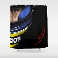 senna Shower Curtains featuring Senna Helmet Portrait by Borja Sanz