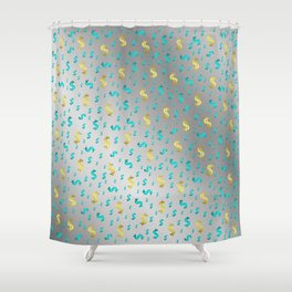 gold,blue silver metal dollar Shower Curtain