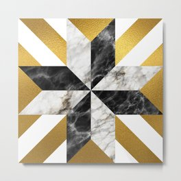 Gold foil white black marble #1 Metal Print