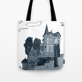 house with a turret and trees Tote Bag