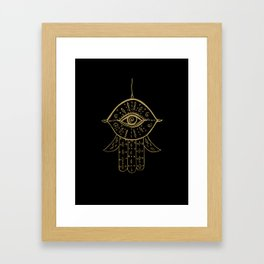 Hamsa Hand Gold on Black #1 #drawing #decor #art #society6 Framed Art Print