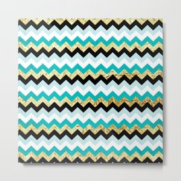 Black, Teal, and Gold Chevron Pattern Metal Print