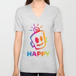 HAPPY  Stripes Unisex V-Neck