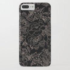 Pink coral tan black floral illustration pattern iPhone 7 Plus Slim Case