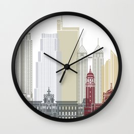 Manila skyline poster Wall Clock