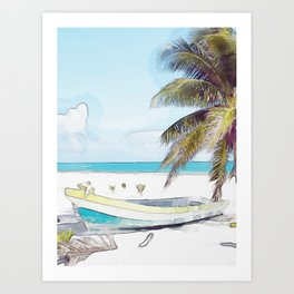Beach Boat #watercolor #painting #society6 Art Print