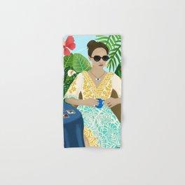 Tarot Reader Woman Mystic Cool Girl in Tropical Setting Horoscope Hand & Bath Towel