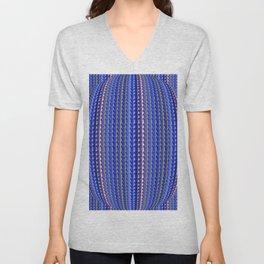 Mega Bright Indigo Lavender Blue Psychedelic Pattern Unisex V-Neck