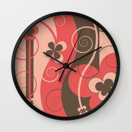Modern Retro Butterfly Floral Graphic Art Wall Clock