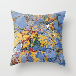 Marble Blue / Yellow Throw Pillow