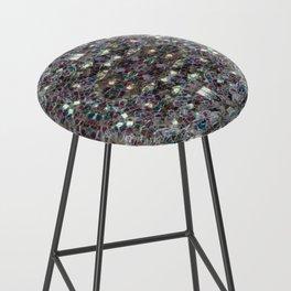 Sparkly colourful silver mosaic mandala Bar Stool