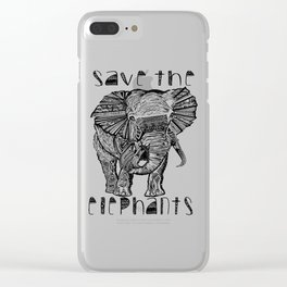 Save the elephants shirt Clear iPhone Case