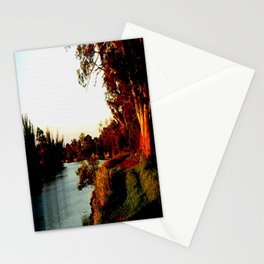 Sunsets on the river bank gum Trees Stationery Cards