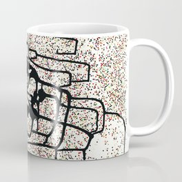 Modern abstract original mixed media (sumi ink and recycled hole punch paper) 'monacle dot' Coffee Mug