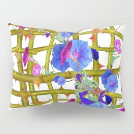 BLUE MORNING GLORIES THORN LATTICE DESIGN Pillow Sham