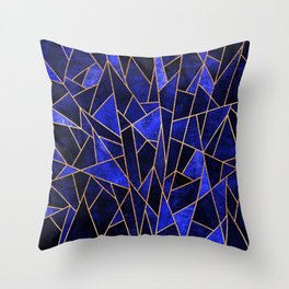 Shattered Sapphire Throw Pillow