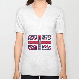 Vintage Union Jack UK Flag with London Decoration Unisex V-Neck