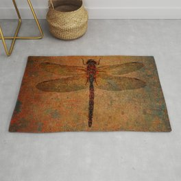 Dragonfly On Orange and Green Background Rug