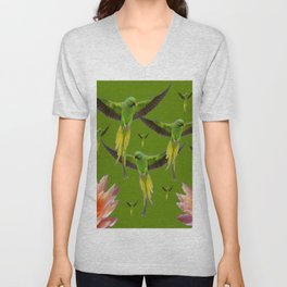 FLOCK OF GREEN FLYING FAIRY BIRDS  & PEACH FLOWERS ART Unisex V-Neck
