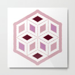 Pink Sequins Cube Good Things Take Times Typography Metal Print