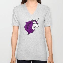 Colorful Cartoon Unicorn - Purple Unisex V-Neck