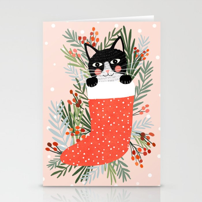 Christmas Stationery.Cat On A Sock Holiday Christmas Stationery Cards By Miacharro